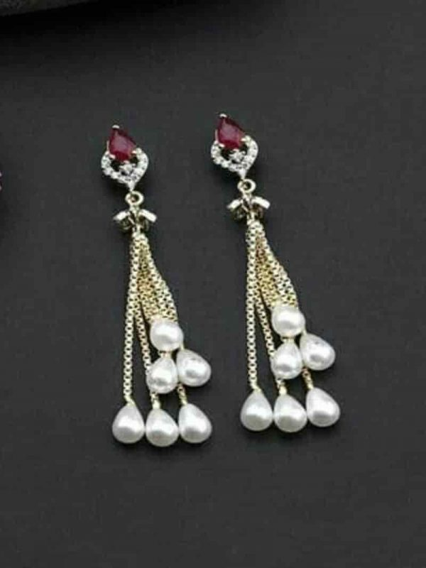Artificial Stones Gold Plated Earrings For Women