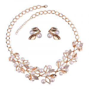 YouBella Gold Plated Pearl Studded Set
